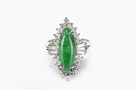 A NATURAL JADEITE DIAMOND RING