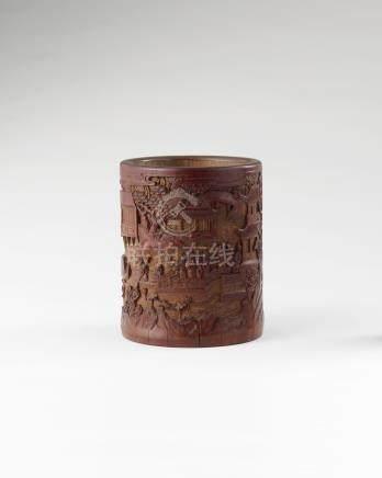 竹雕山水阁楼笔筒