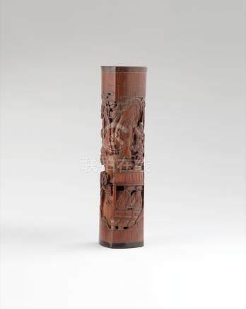 竹雕人物香筒