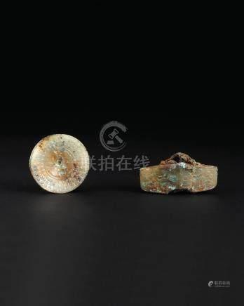 汉代 青白玉剑首、战国 玉剑格(二件一组)