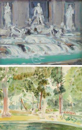 何肇衢、张义雄-特勒比喷泉、公园-2(二件一组)