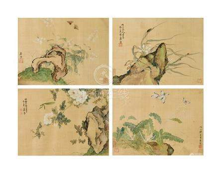 JU LIAN 1828-1904 Flowers and Insects ink and colour on silk