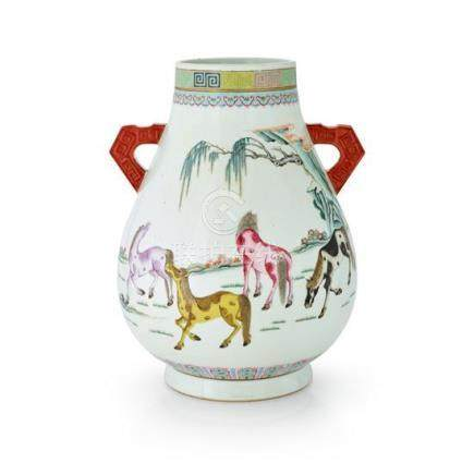 An unusual famille-rose 'eight horses' vase Qing dynasty, 19
