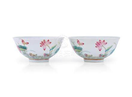 A pair of famille-rose bowls, Shendetang marks Qing dynasty,