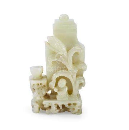 A white jade vase and cover, 19th/20th century (2) 13 cm hig