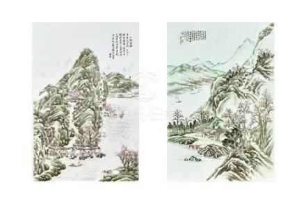 Two famille-rose porcelain 'landscape' plaques, 20th century