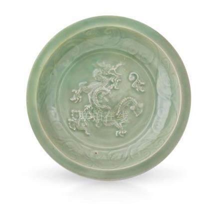 A large 'Longquan' celadon 'dragon' dish Yuan dynasty 37.5 c
