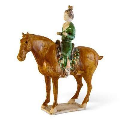 A sancai-glazed pottery figure of an equestrienne Tang dynas