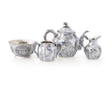 A Chinese silver three-piece service and a bowl, late 19th/2