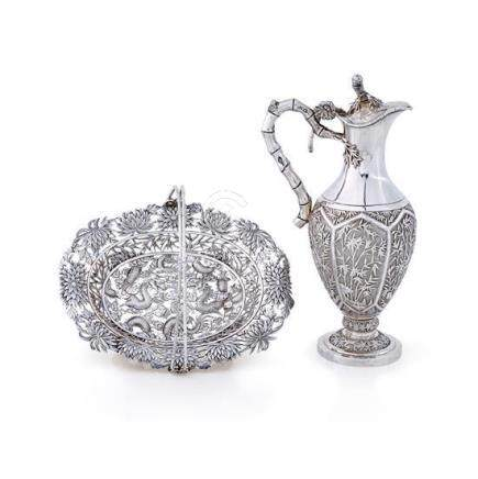 Two Chinese silver wares, late 19th/20th century (2) ewer 48