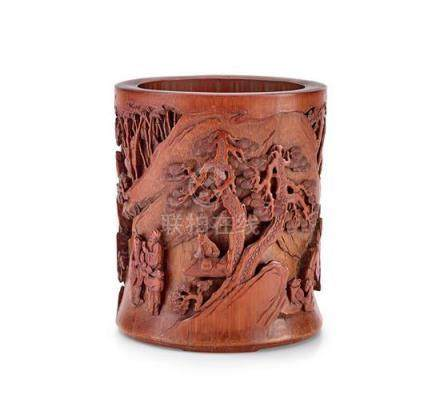 A carved bamboo 'scholars in landscape' brushpot Qing dynast