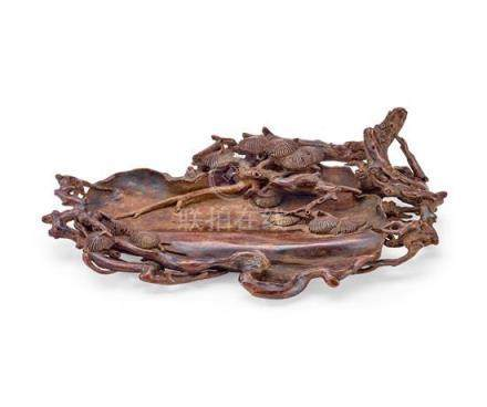 A carved aloeswood 'pine' brush washer Qing dynasty (2) 24 c