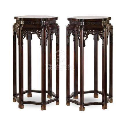 A pair of hongmu and hardwood stands, 20th century (2) 103 c