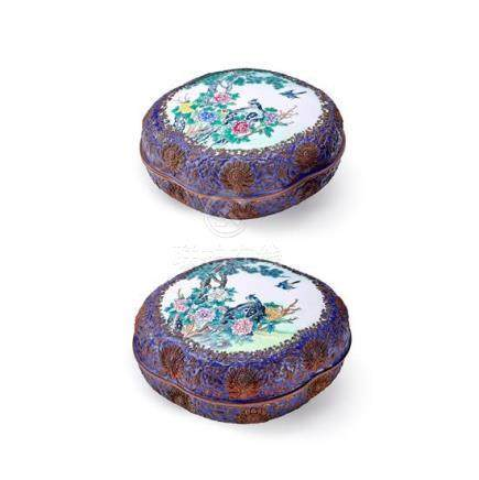 A rare pair of painted enamel and repousse decorated boxes a