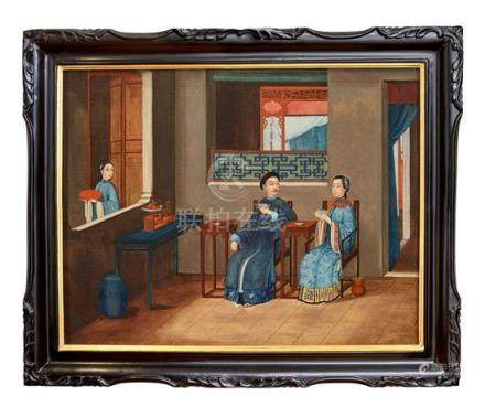 A Chinese export painting of a couple taking tea in an inter