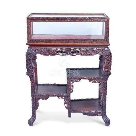 A hardwood display cabinet 98 cm high, 74 cm wide, 43 cm dee