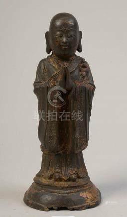 """""""Luohan debout en méditation"""" en bronze à patine brune porta"""