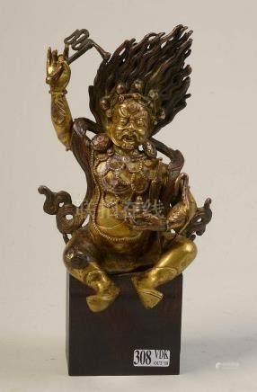 """Vajrapâni "" en bronze doré. Travail sino-tibétain. Epoque:"