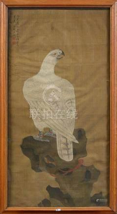 """""""L'aile blanc représentant l'empereur Huizong"""" plume d'encre"""