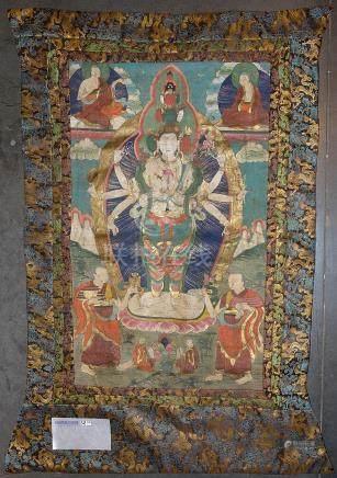 """Thangka peint sur soie représentant """"Avalokitesvara sous sa"""
