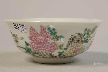 """Bol en porcelaine polychrome de Chine décoré de """"Fleurs"""" et"""