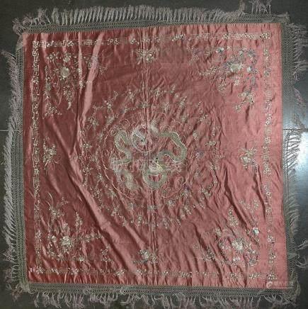 """Borderie en soie décorée de deux """"Dragons à cinq griffes"""" et"""