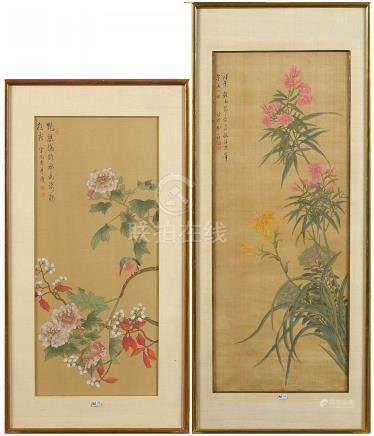 """Deux kakémonos décorés de """"Fleurs et d'un oiseau sur branche"""