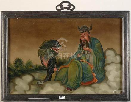 """""""Lu Xing accompagné d'un Qilin"""" (?) verre églomisé. Travail"""