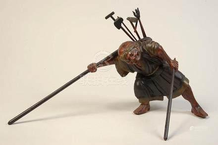 """""""Guerrier japonais"""" en bois sculpté et polychromé. Travail j"""
