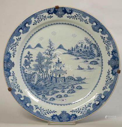 Grand plat rond en porcelaine bleue et blanche de Chine déco