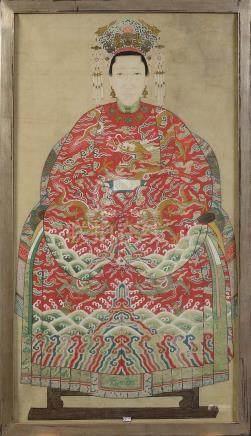 """Kakémono """" Portrait d'une dame de cour"""" gouache sur papier."""