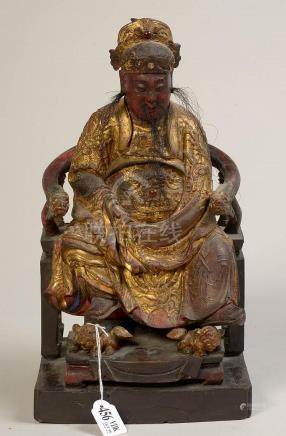 """""""Guandi assis"""" (?) en bois sculpté, doré, polychromé et sert"""