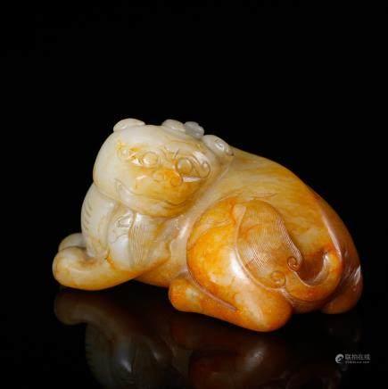 CHINESE WHITE JADE FIGURE OF BEAST
