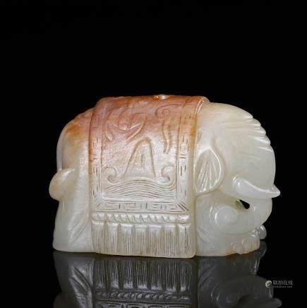 CHINESE WHITE JADE CARVED ELEPHANT