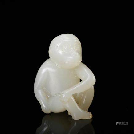 CHINESE WHITE JADE CARVED MONKEY
