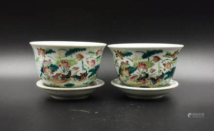 CHINESE FAMILLE ROSE PORCELAIN POTS