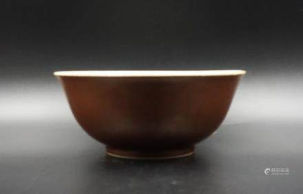 CHINESE SOY GLAZED PORCELAIN BOWL