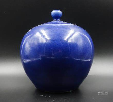 CHINESE BLUE GLAZED PORCELAIN COVER JAR