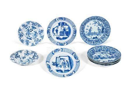 Eight blue and white dishes Kangxi (8)