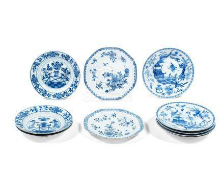A group of blue and white plates Kangxi to Qianlong (21)