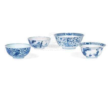 Four blue and white bowls Kangxi (4)