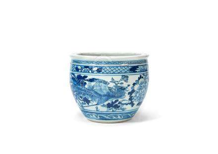 A blue and white jardinière 19th century