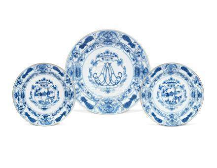 Three blue and white export dishes Kangxi (3)