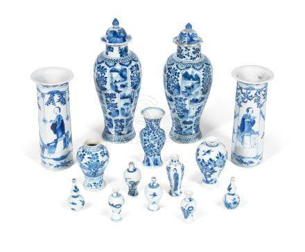 A group of blue and white vases Kangxi to 19th century