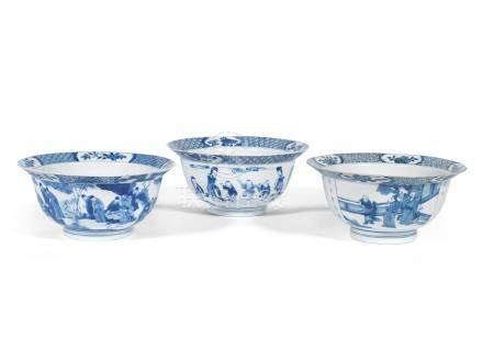 Three blue and white 'klapmuts' bowls Kangxi six-character marks and of the period (3)