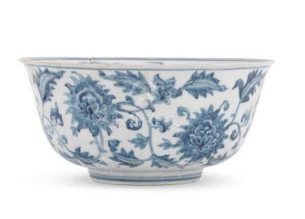 A rare blue and white 'lotus and fish' bowl Chenghua/Hongzhi