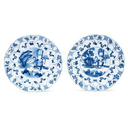 A pair of moulded blue and white foliate dishes Kangxi  (2)