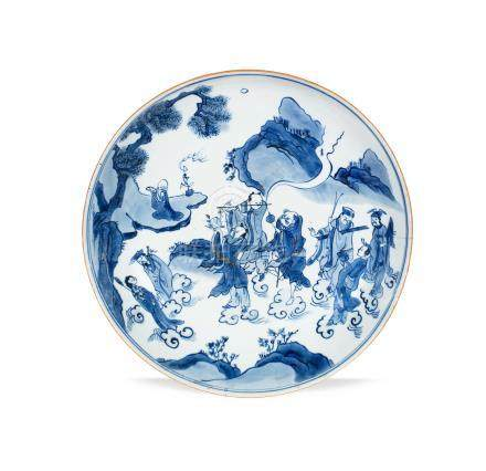 A blue and white 'Eight Immortals' dish Yutang jiaqi four-character mark, 17th century
