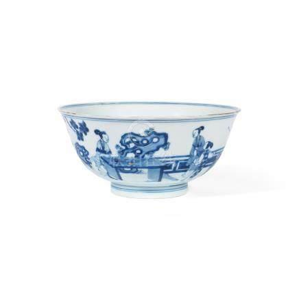 A blue and white 'ladies' bowl Chenghua six-character mark, Kangxi (2)