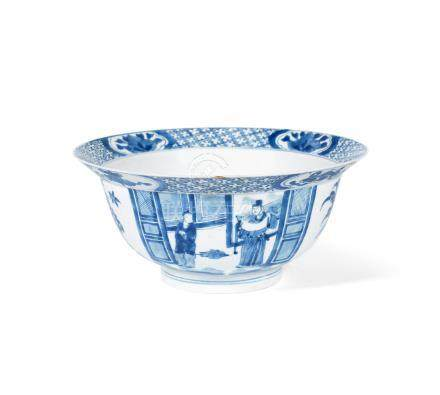A blue and white 'klapmuts' bowl Kangxi six-character mark and of the period